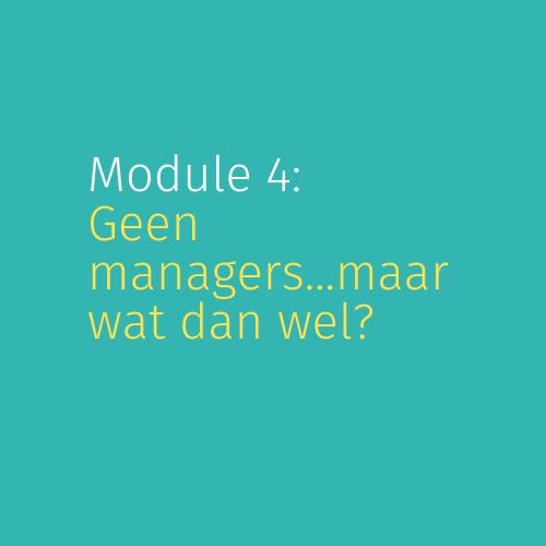 Module 4: Geen managers…maar wat dan wel?