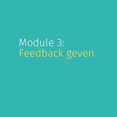 Module 3: Feedback geven